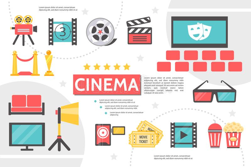 Flache Kinematographie Infographic-Schablone lizenzfreie abbildung