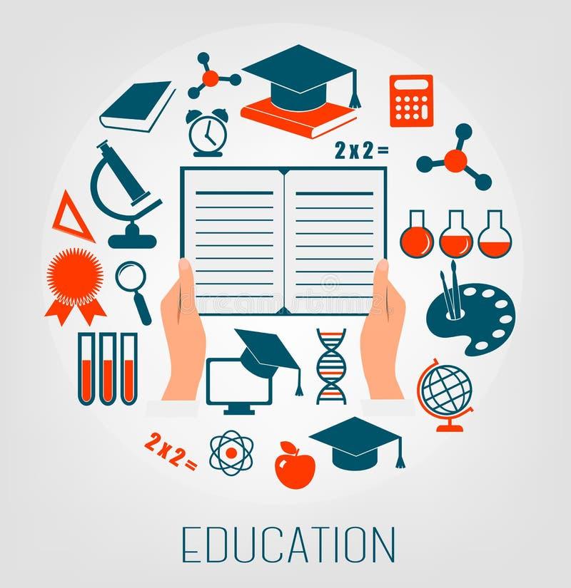 Flache Konzept- des Entwurfesikonen für Bildung silberne Taste und Laptop-Computer lizenzfreie abbildung