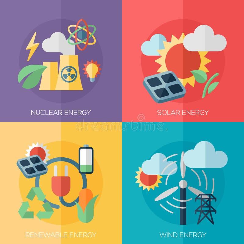 Flache Konzepte des Entwurfes der umweltfreundlichen Energie, Fahnen stock abbildung