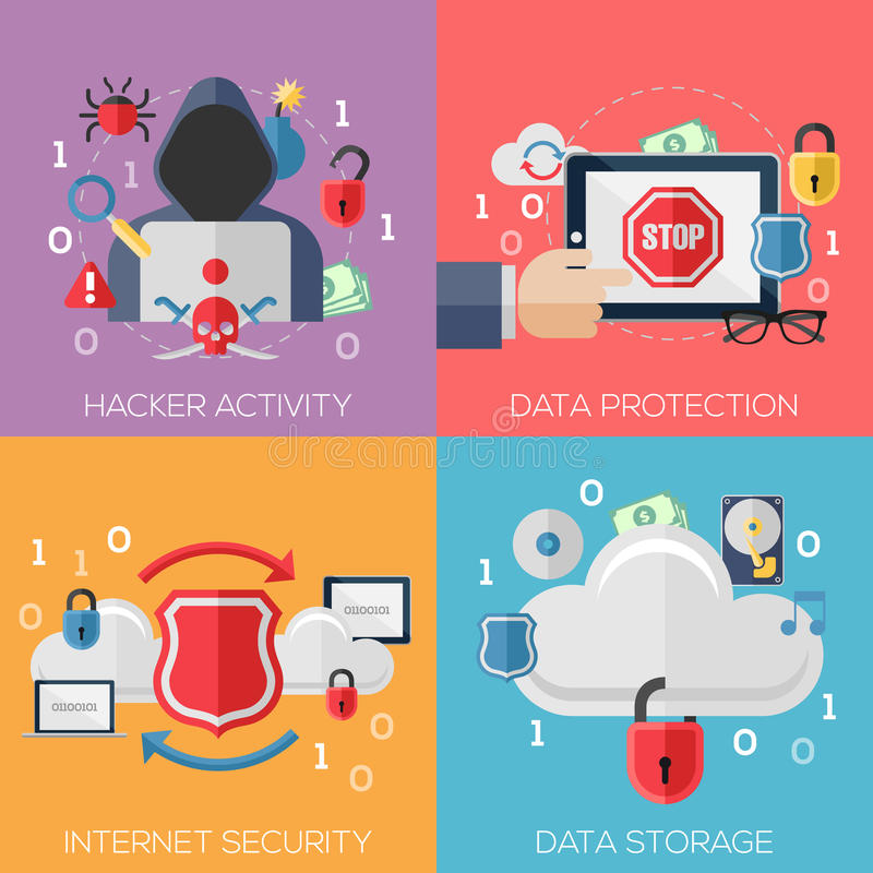 Flache Konzepte des Entwurfes für Hackertätigkeit, Daten lizenzfreie abbildung