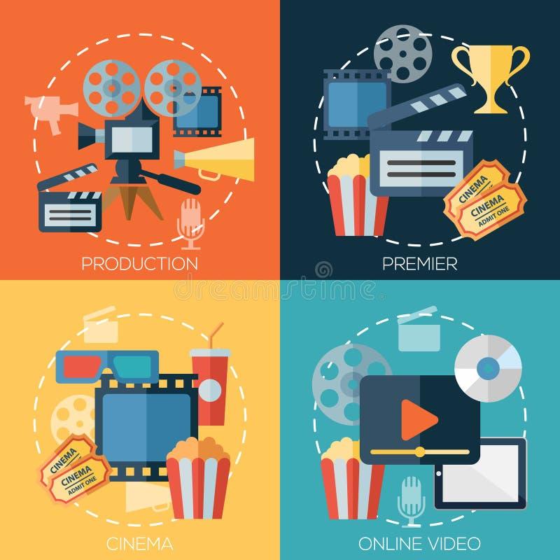 Flache Konzepte des Entwurfes für Kino, Filmproduktion lizenzfreie abbildung