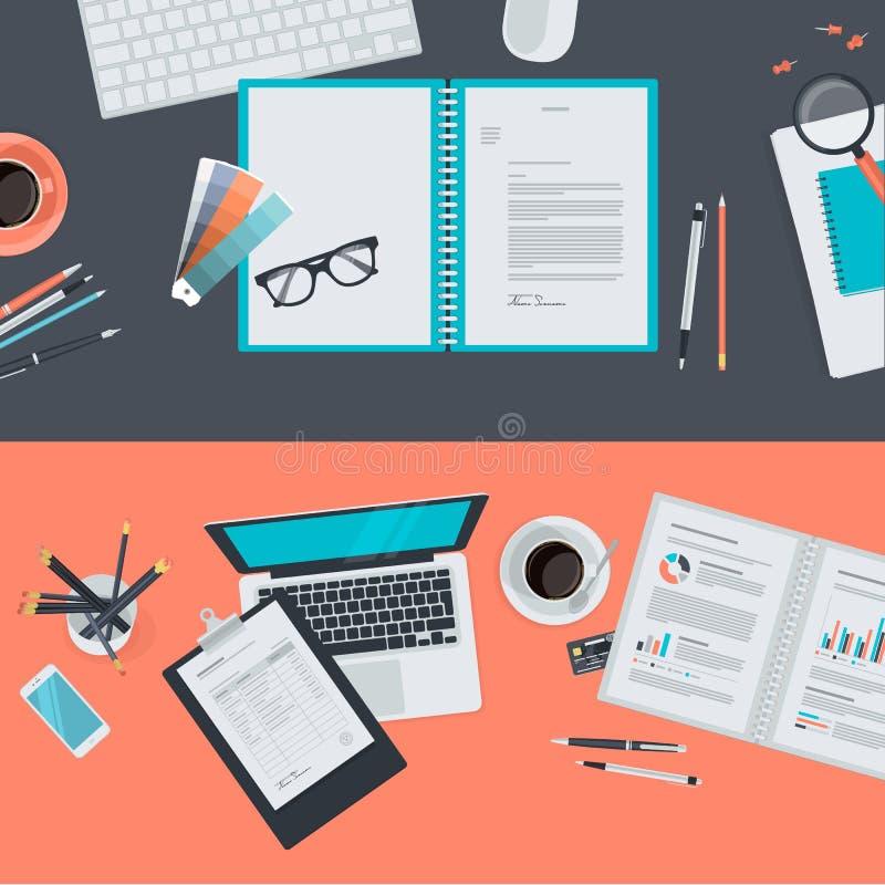 Flache Konzepte des Entwurfes für kreatives Projekt, Grafikdesignentwicklung, Geschäft lizenzfreie abbildung