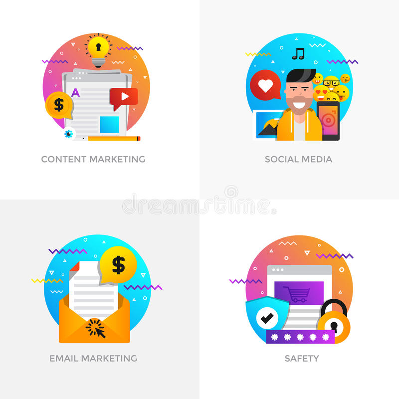 Flache Konzepte des Entwurfes - zufriedenes Marketing, Social Media, E-Mail vektor abbildung