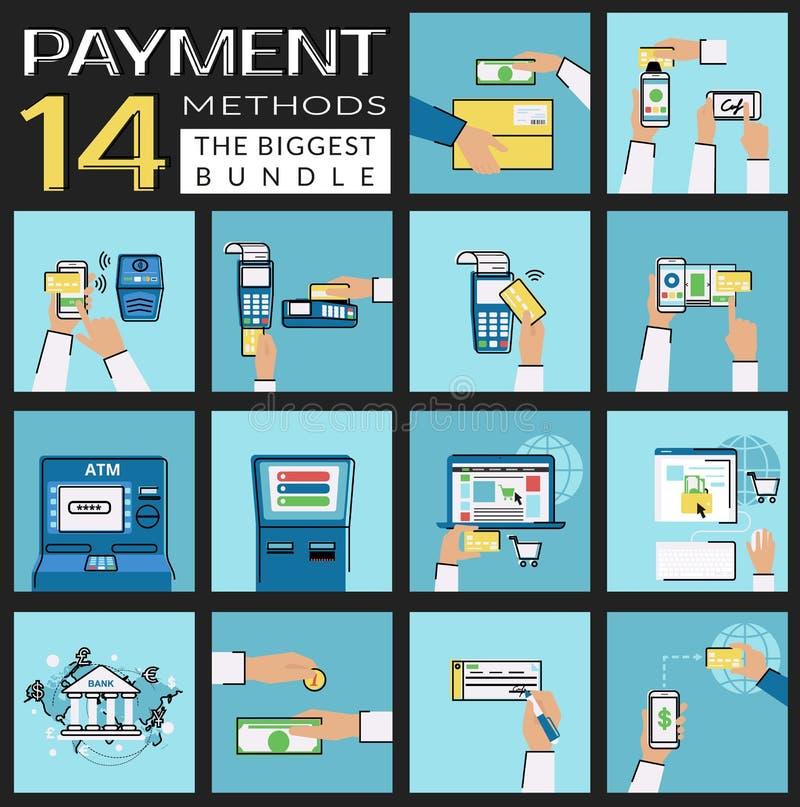 Flache Konzeptvektorillustrationen stellten von den Zahlungsmethoden wie Kreditkarte, nfc, bewegliche APP, ATM, Anschluss, Websit vektor abbildung