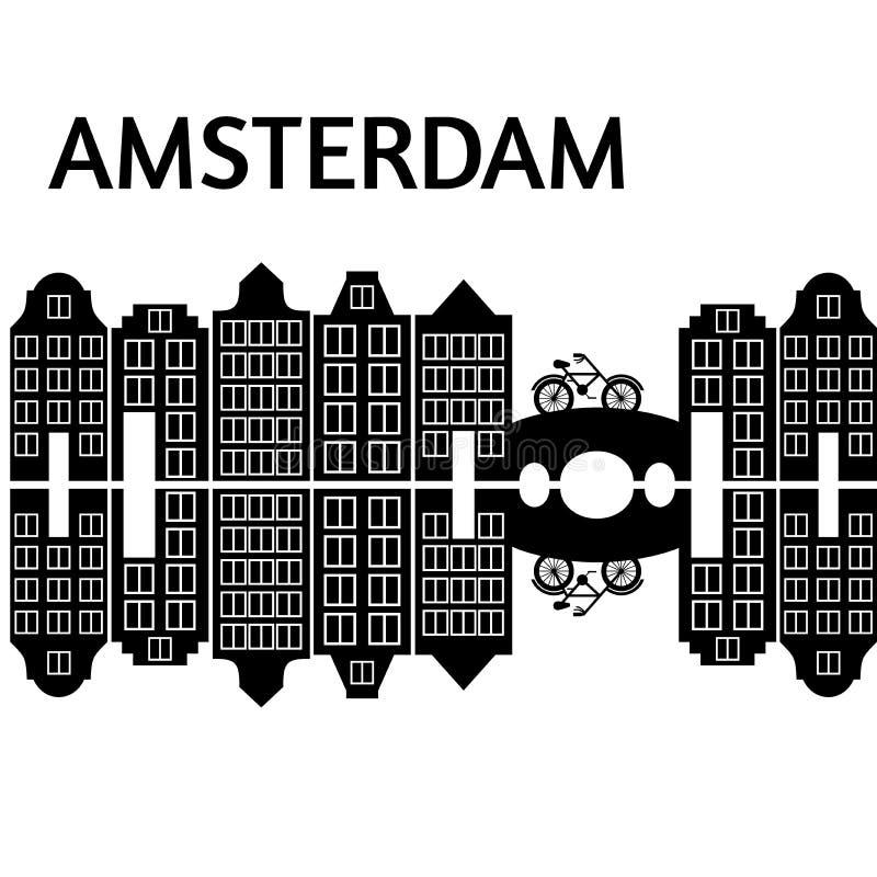 Flache Kunst Amsterdam-Stadt Reisemarkstein, Architektur von den Niederlanden, Holland Häuser, europäisches Gebäude lokalisierte  stock abbildung