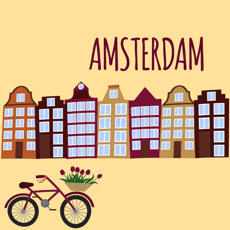 Flache Kunst Amsterdam-Stadt Reisemarkstein, Architektur von den Niederlanden, Holland Häuser, europäisches Gebäude lokalisierter stock abbildung