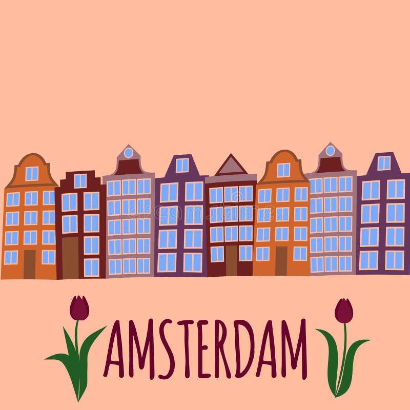 Flache Kunst Amsterdam-Stadt Reisemarkstein, Architektur von den Niederlanden, Holland Häuser, europäisches Gebäude lokalisierter lizenzfreie abbildung