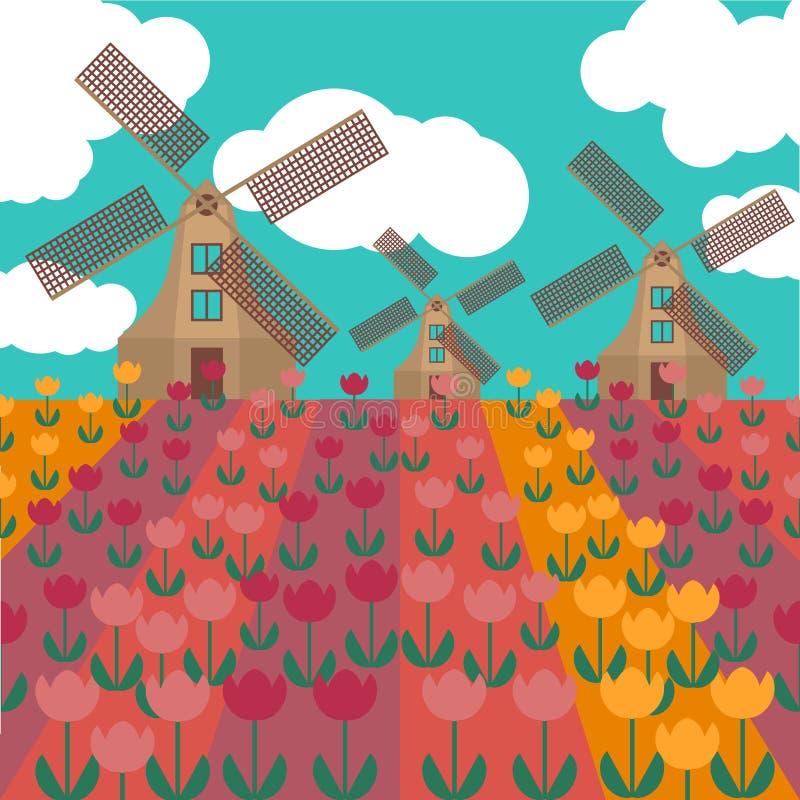Flache Kunst Amsterdam-Stadt Reisemarkstein, Architektur von den Niederlanden, Holland Häuser, Windmühle in den Tulpen lizenzfreie abbildung