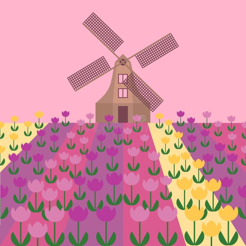 Flache Kunst Amsterdam-Stadt Reisemarkstein, Architektur von den Niederlanden, Holland Häuser, Windmühle in den Tulpen stock abbildung