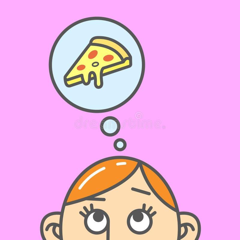 Flache Kunstkarikaturillustration des Gedankens der Pizzascheibe vektor abbildung