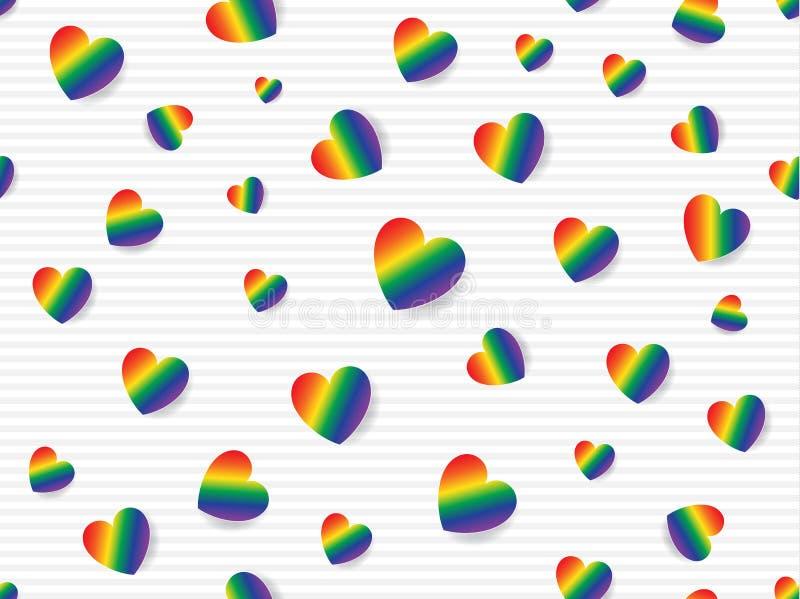 Flache Lage des Regenbogens färbte Herzen zerstreut auf hellgrauen und weißen gestreiften Hintergrund Nahtlose Mustervektorillust lizenzfreie abbildung