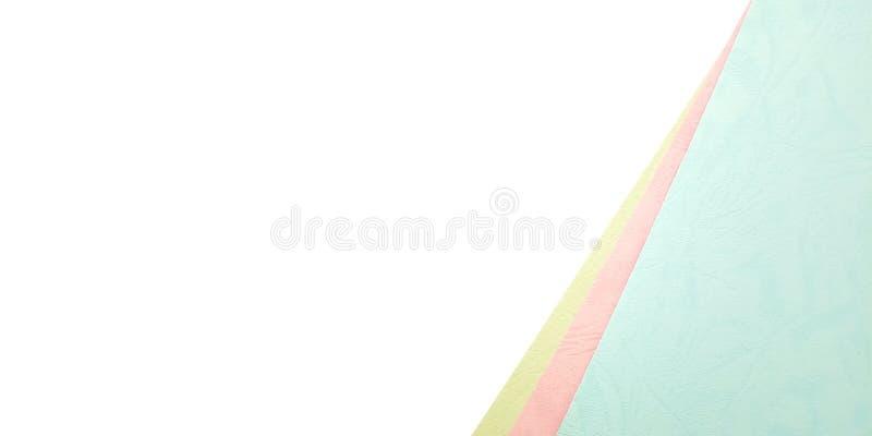 Flache Lage, wei?e rosa blaue Schablone des Foto-freien Raumes f?r Hintergrund-Element-Entwurf f?r Mitteilung, Zitat, Information stockfoto