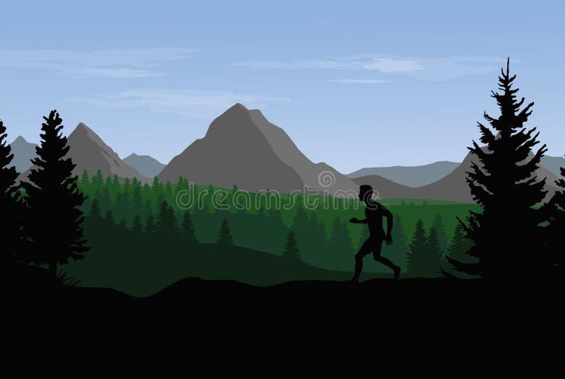 Flache Landschaft des Vektors mit Bergen, Hügel und Wald und Schattenbild des Ausbildungsläufers stock abbildung
