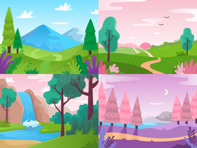 Flache Landschaft Sommerfeldnatur, Waldfauna und Wasserfalllandschaften Berge und Vektorhintergrund des bew?lkten Himmels lizenzfreie abbildung