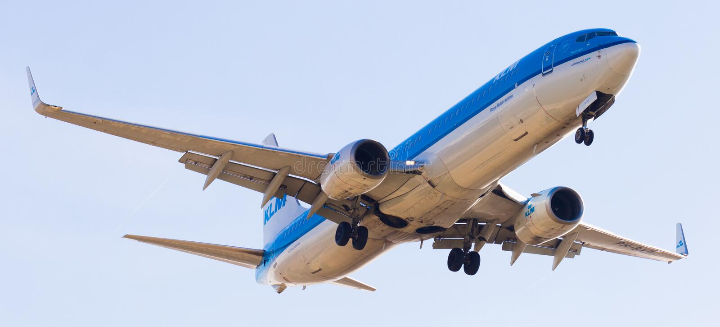 Flache Landung KLM-Fluglinien lizenzfreie stockbilder