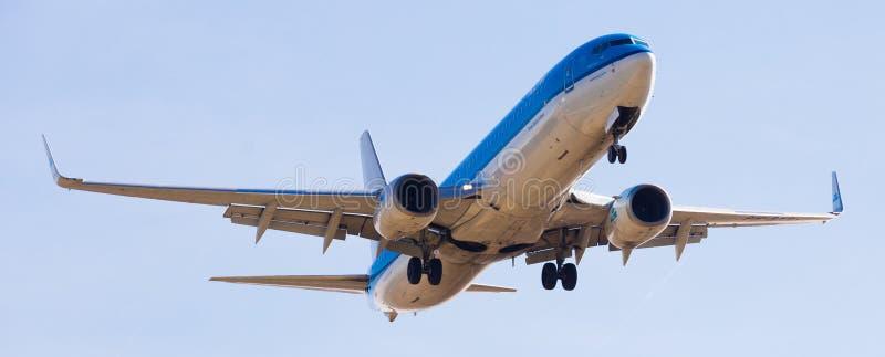 Flache Landung KLM-Fluglinien stockfotografie