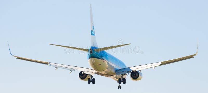 Flache Landung KLM-Fluglinien lizenzfreie stockfotografie
