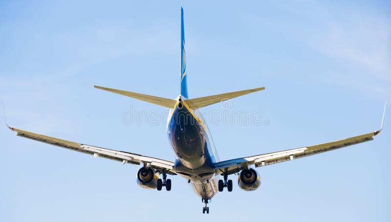 Flache Landung Ryanair-Fluglinien stockfotografie