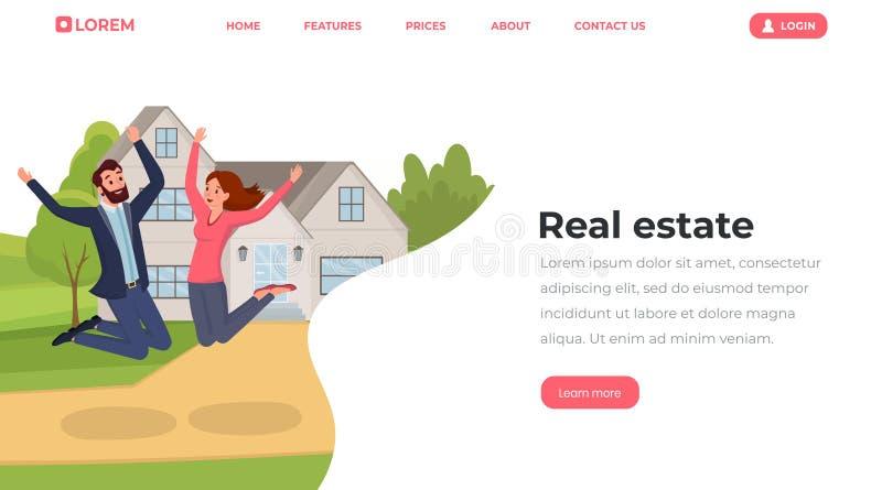 Flache Landungsseitenschablone der Immobilien Junge Leute, Ehemann und Frau, die umziehen, um Website, Webseitenvektorplan unterz lizenzfreie abbildung