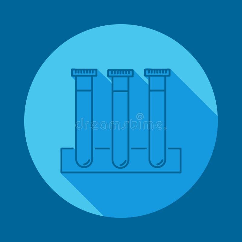 flache lange Schattenikone der Phiolen Element der Medizinikone für bewegliche Konzept und Netz apps Lange Schattenphiolenikone k vektor abbildung