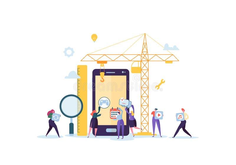 Flache Leute-Charakter-Gebäude-bewegliche Anwendung mit Ikonen auf dem Schirm von Smartphone Wireframe-Entwicklungs-Konzept stock abbildung