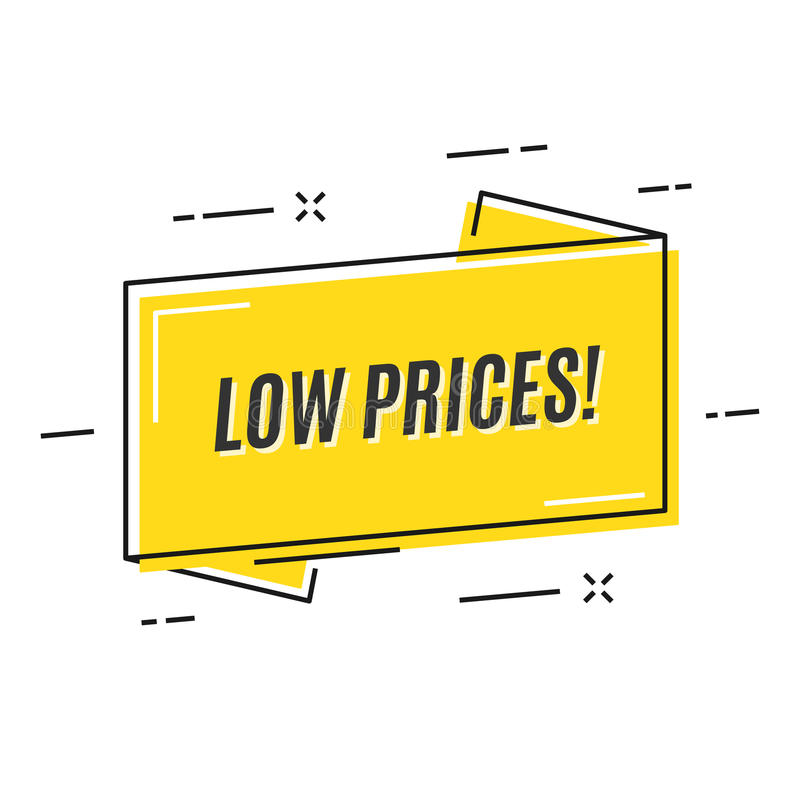 Flache lineare Förderungsbandfahne, Preis, Aufkleber, Ausweis, stock abbildung
