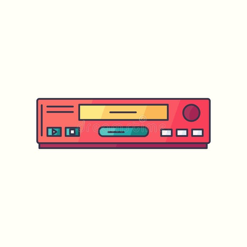 Flache lineare Ikone VHS-Vektors Videorekorder-Hippie-Gerätsymbol in hellem lizenzfreie abbildung
