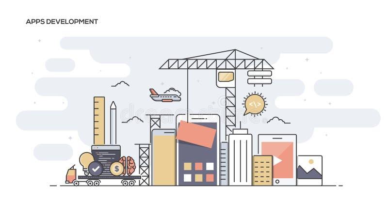 Flache Linie Apps-Entwicklung entwarf Fahne lizenzfreie abbildung