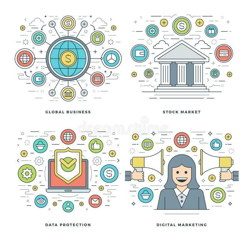 Flache Linie Börse, Daten-Schutz, Digital-Marketing, Geschäfts-Konzepte stellte Vektorillustrationen ein stock abbildung