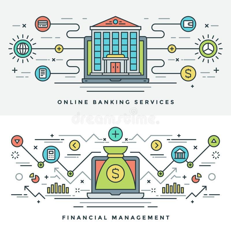 Flache Linie Bankwesen und Finanzverwaltungs-Konzept Vector Illustration stock abbildung