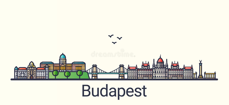 Flache Linie Budapest-Fahne vektor abbildung
