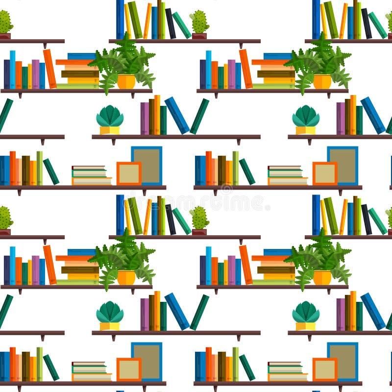 Flache Linie buntes nahtloses Muster von den Büchern lokalisiert auf Weiß vektor abbildung