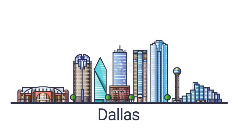 Flache Linie Dallas-Fahne vektor abbildung