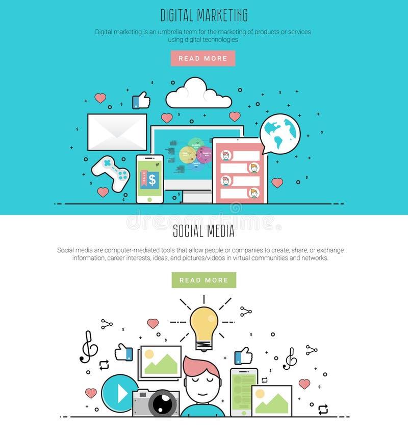 Flache Linie Designart der Vektorillustration des digitalen Marketings und des Social Media vektor abbildung