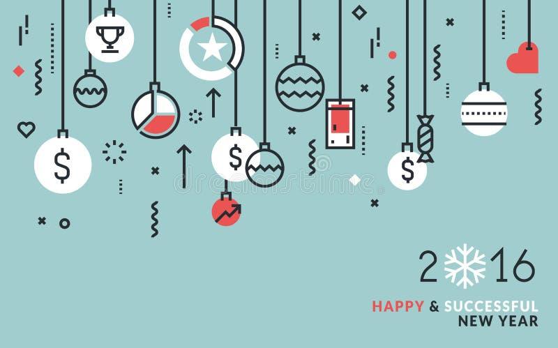 Flache Linie Designgeschäftskonzept für Grußkarte des neuen Jahres stock abbildung