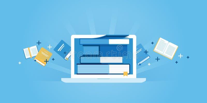 Flache Linie Designwebsitefahne des E-Learnings lizenzfreie abbildung