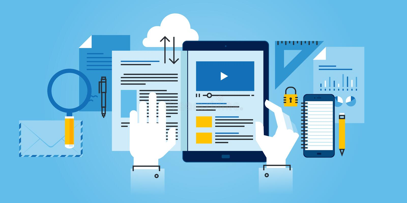 Flache Linie Designwebsitefahne des E-Learnings vektor abbildung