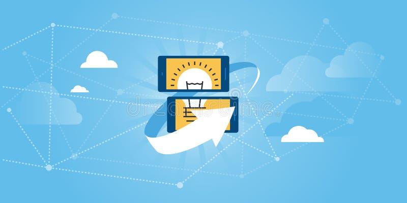 Flache Linie Designwebsitefahne von on-line teilen Ideen Plattform, Ideenmanagement-Software lizenzfreie abbildung