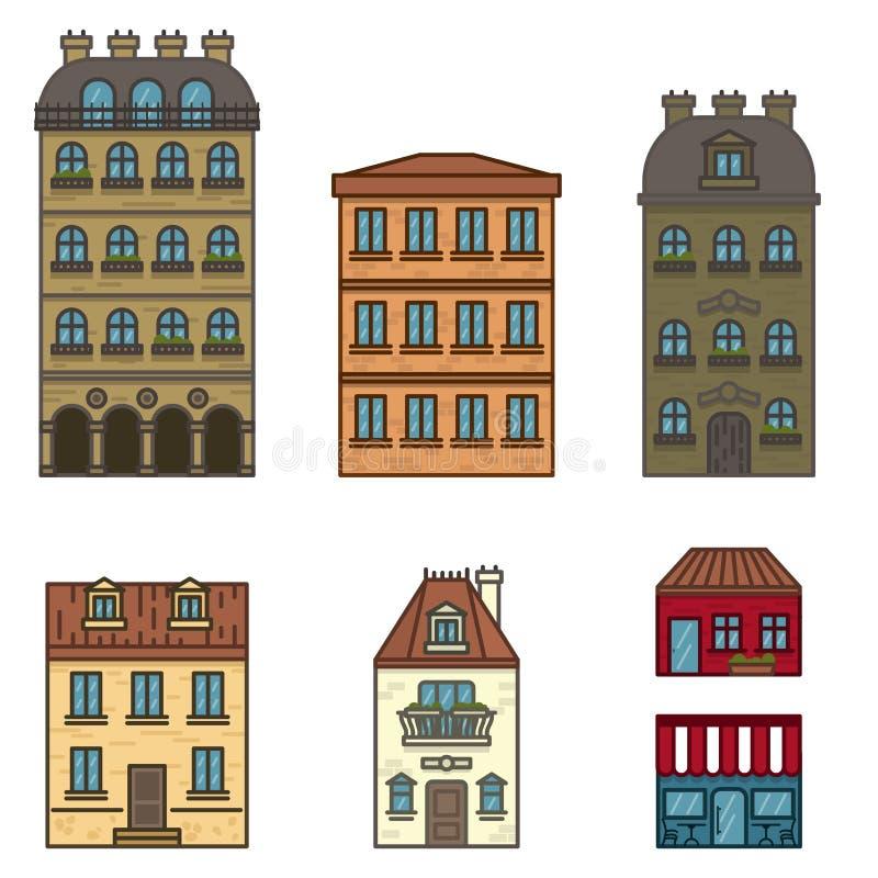 Flache Linie die Häuser Paris, die in verschiedene Farben eingestellt wurden, lokalisierte Vektorillustration von flachen Gebäude vektor abbildung