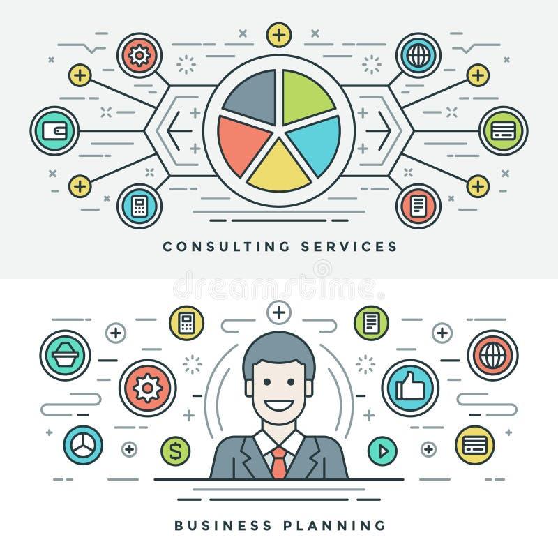 Flache Linie Dienstleistungen und Unternehmensplanungs-Konzept Vector Illustration Moderne dünne lineare Anschlagvektorikonen lizenzfreie abbildung