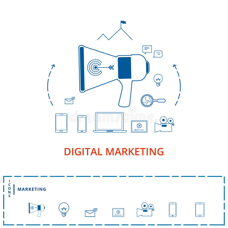 Flache Linie digitales Marketing-Konzept des Designs Megaphon mit digitaler Marketing-Technologie, Analytik, Social Media, das Ik lizenzfreie abbildung