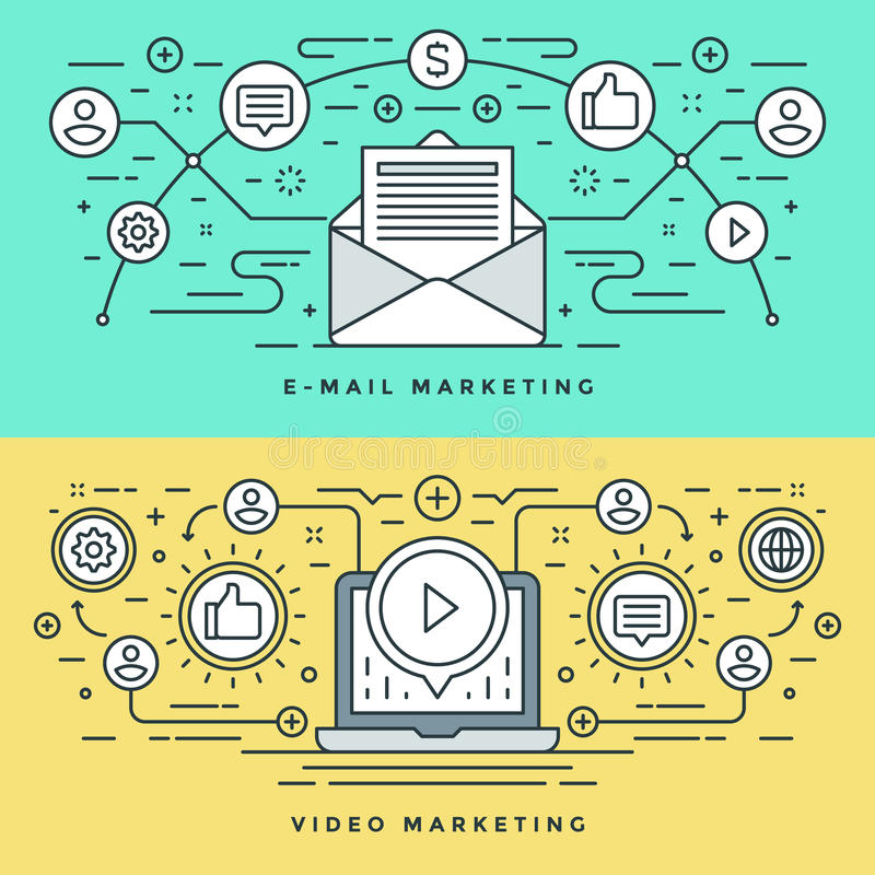 Flache Linie E-Mail und Video-Marketing-Konzept Vector Illustration Moderne dünne lineare Anschlagvektorikonen stock abbildung