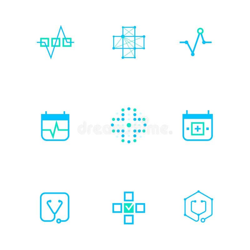 Flache Linie einfarbige blaue Emblemlogos der Medizinikonen, Netzon-line-Konzept Logo des Herzimpulses, rotes Kreuz, medizinische stock abbildung
