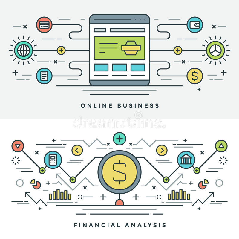 Flache Linie Einkaufen und Internet-Geschäfts-Konzept Vector Illustration Moderne dünne lineare Anschlagvektorikonen stock abbildung