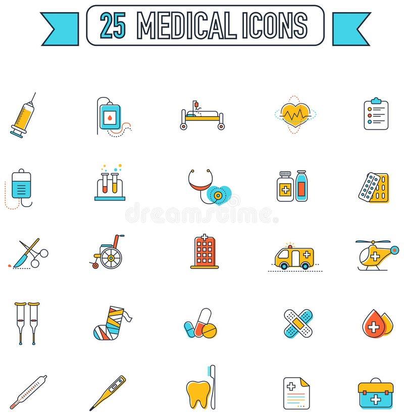 Flache Linie Farbe medizinisch, Ärzte und Krankenhauswerkzeugausrüstung stock abbildung