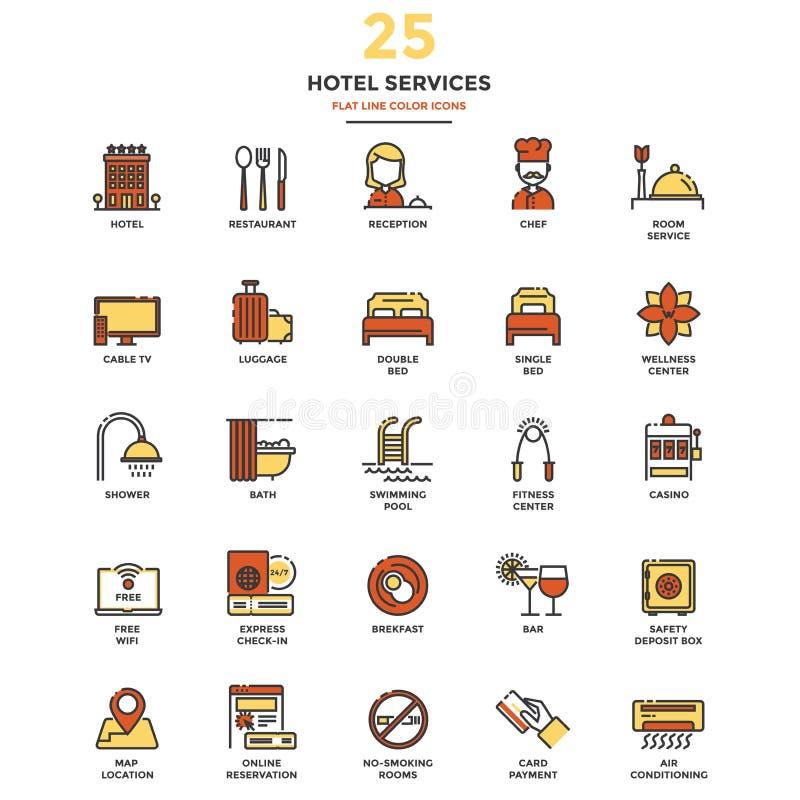 Flache Linie Farbikonen-Hotel-Service lizenzfreie abbildung