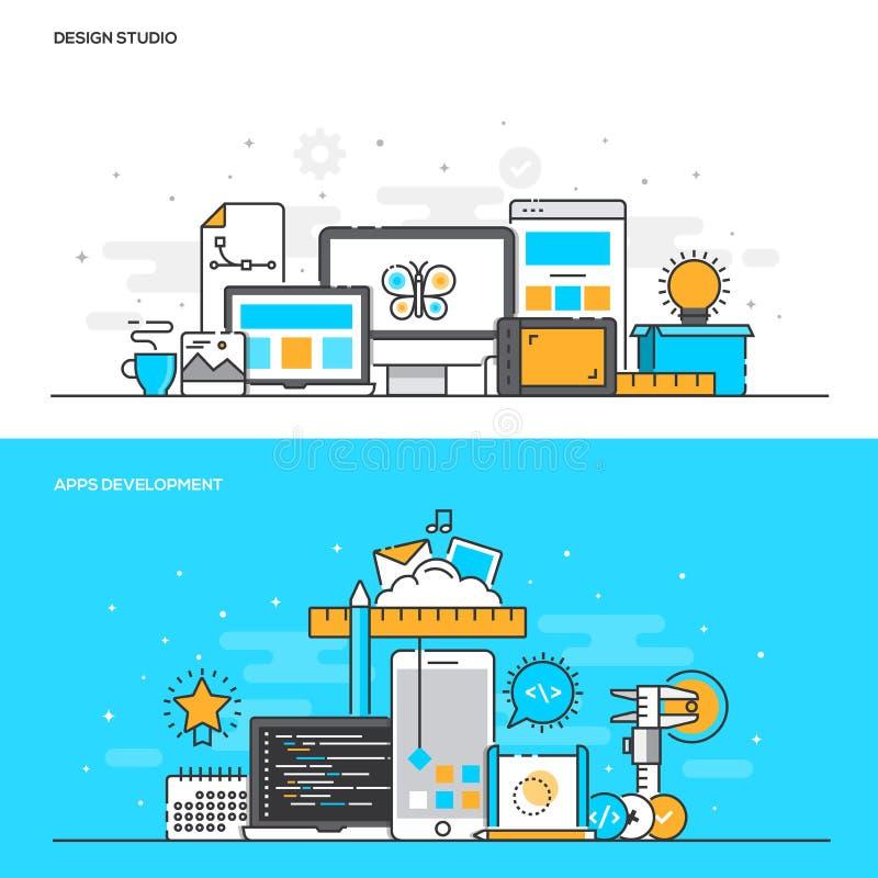 Flache Linie Farbkonzept Design-Studio und Apps-Entwicklung lizenzfreie abbildung