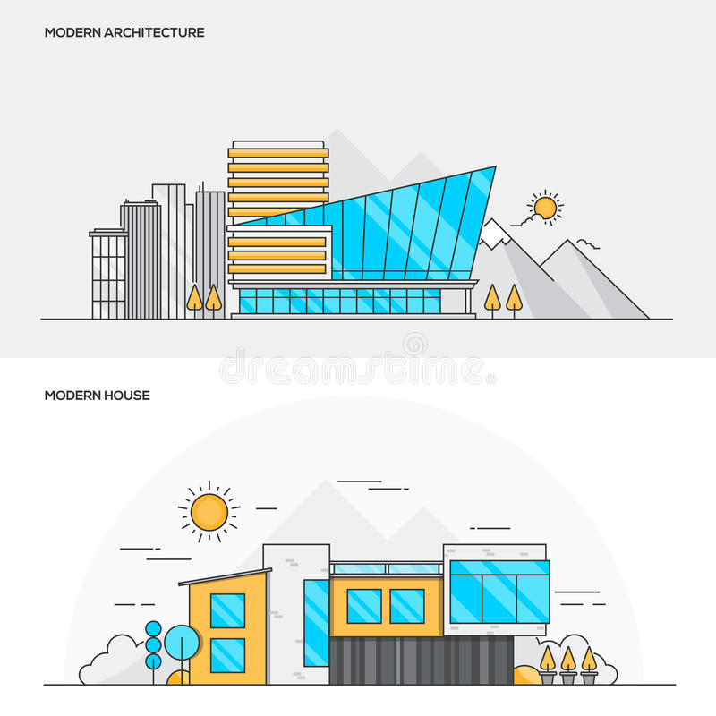 Flache linie farbkonzept moderne architektur und modernes haus vektor abbildung illustration - Farbkonzept haus ...