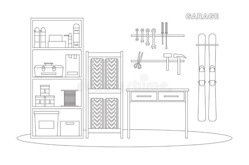 Flache Linie Garageninnenraum vektor abbildung