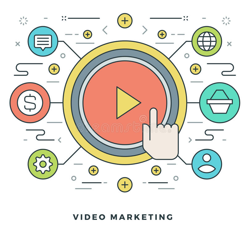 Flache Linie Geschäfts-Konzept-Videomarketing Auch im corel abgehobenen Betrag Moderne dünne lineare Anschlagvektorikonen stock abbildung